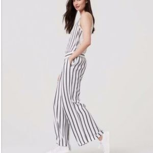 LOFT Striped Fluid Pants LT Blue White